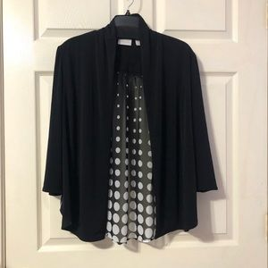 Chico's Size 1 Black And White Sheer Cardigan